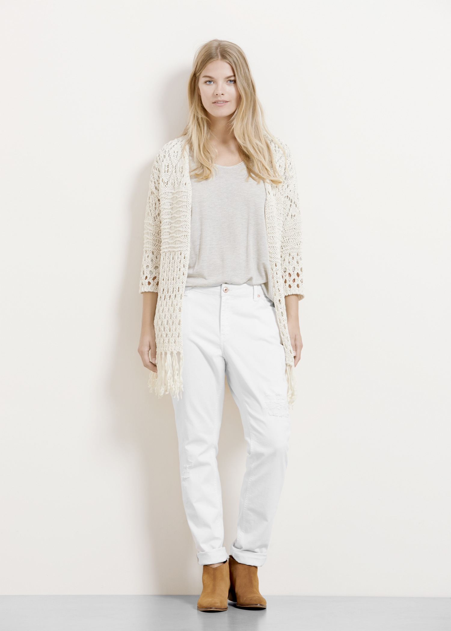 Lyst - Violeta By Mango Long Cotton Cardigan in White