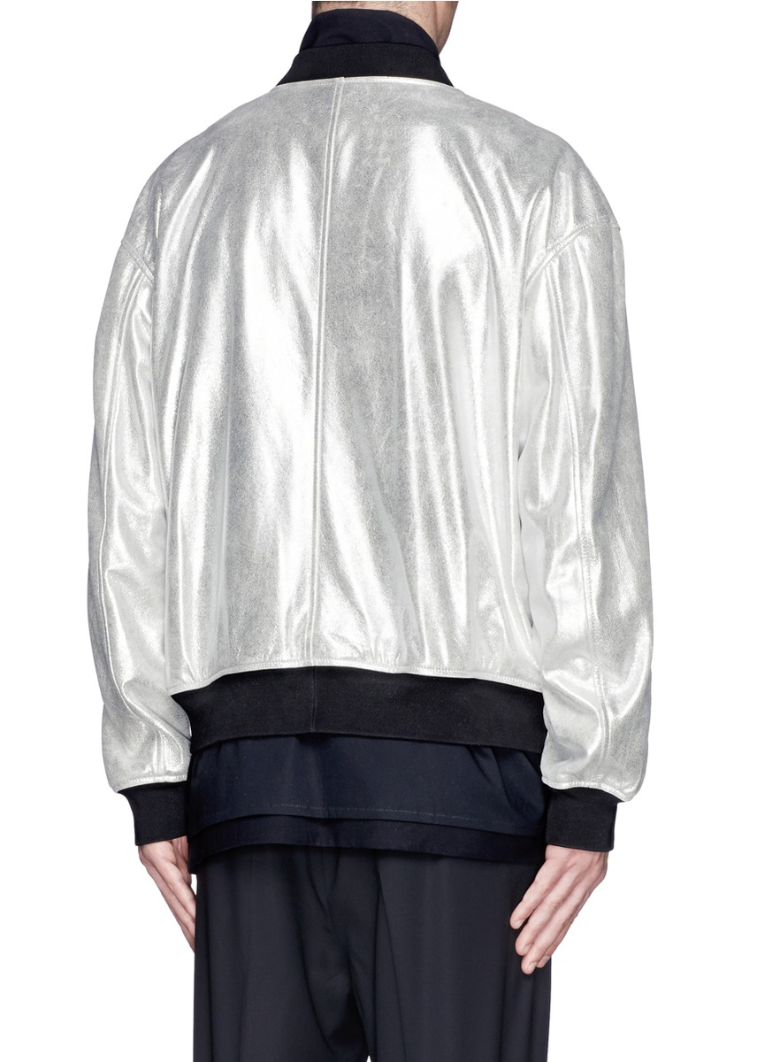 3.1 Phillip Lim 'Tromp L'Oeil' Bomber Metallic Leather Combo Jacket in White for Men