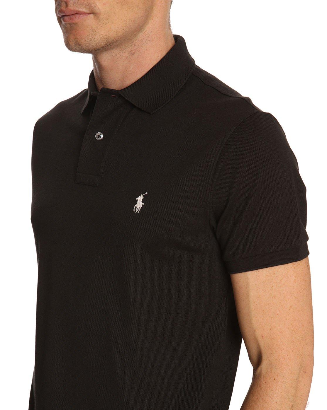 polo ralph lauren black slim fit stretch polo shirt in black for men lyst. Black Bedroom Furniture Sets. Home Design Ideas