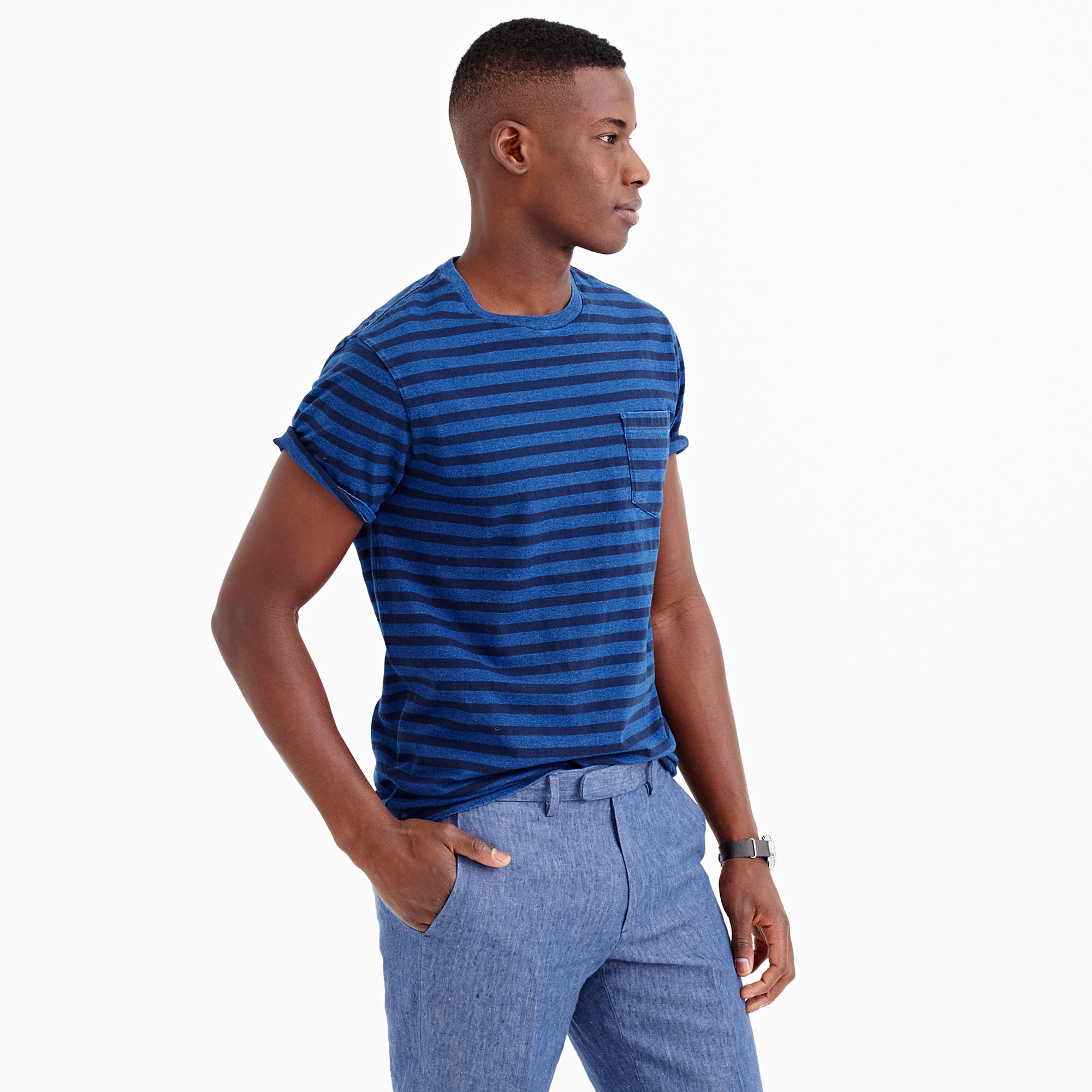 Lyst J Crew Wallace Amp Barnes Indigo Pocket T Shirt In