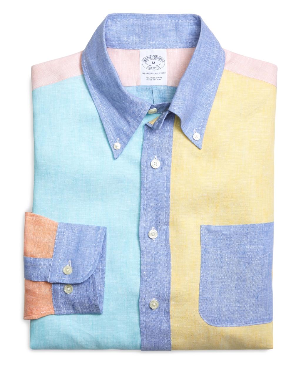 Brooks brothers regular fit solid fun linen sport shirt for Brooks brothers sports shirts