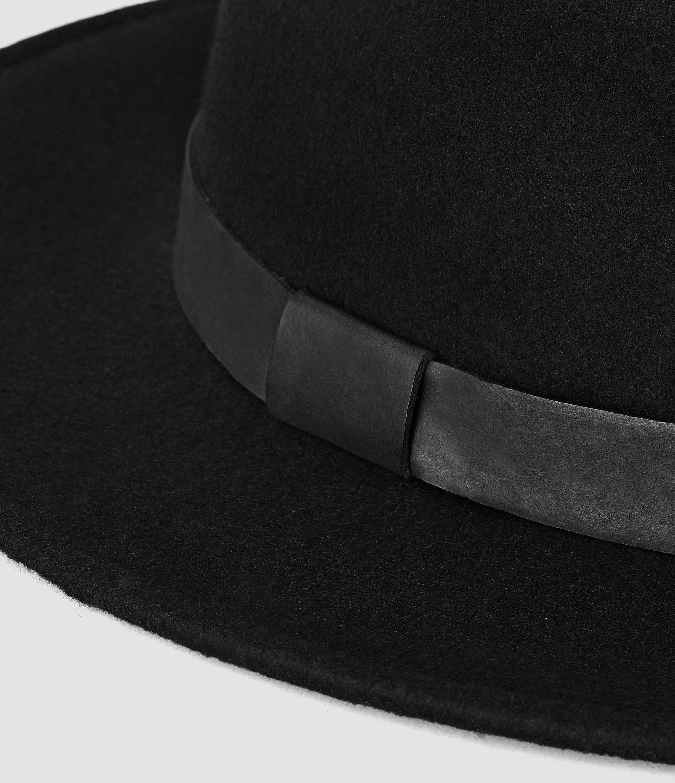 4e2cbaabf1d10 AllSaints Bronson Leather Fedora Hat in Black for Men - Lyst