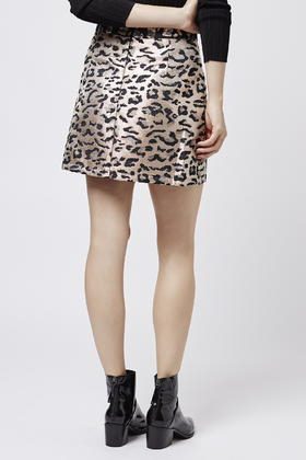 Topshop Metallic Leopard Print A-line Skirt in Metallic | Lyst