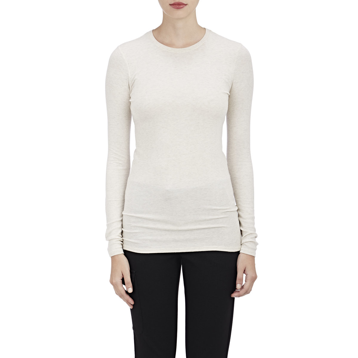 Atm women 39 s rib knit long sleeve t shirt in white lyst for Ribbed long sleeve shirt