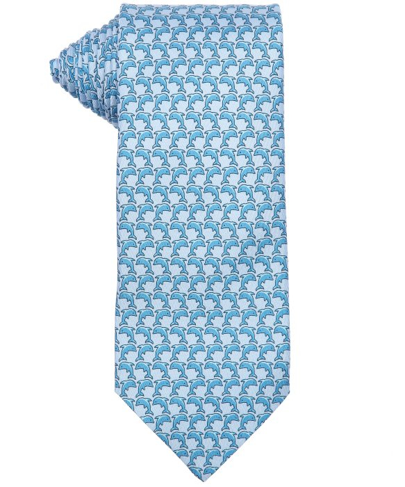 herm 232 s light blue dolphin print silk tie in blue for