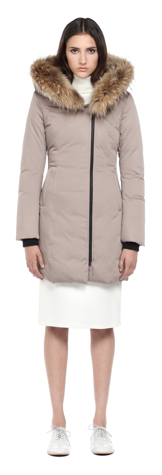 416d680a9 SOIA & KYO Natural Lucinda Taupe Down Coat With Fur Trim