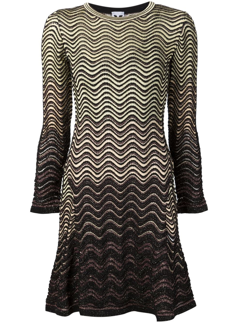 M missoni Wave Pattern Knit Dress in Yellow (YELLOW & ORANGE) Lyst
