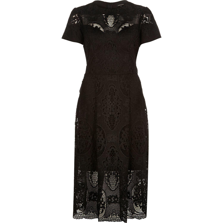 19cfcaa81b River Island Black Short Sleeve Lace Midi Dress in Black - Lyst