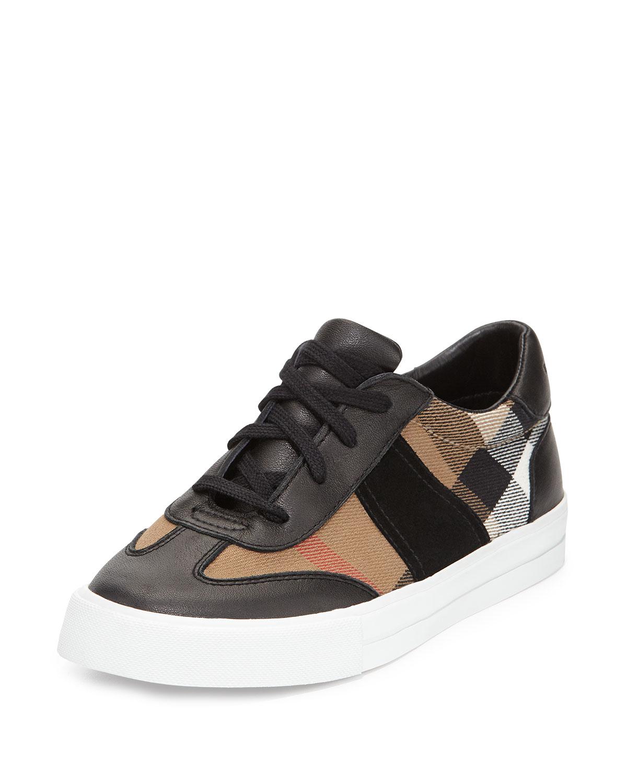 Lyst Burberry Longsley Check Low Top Sneaker In Black