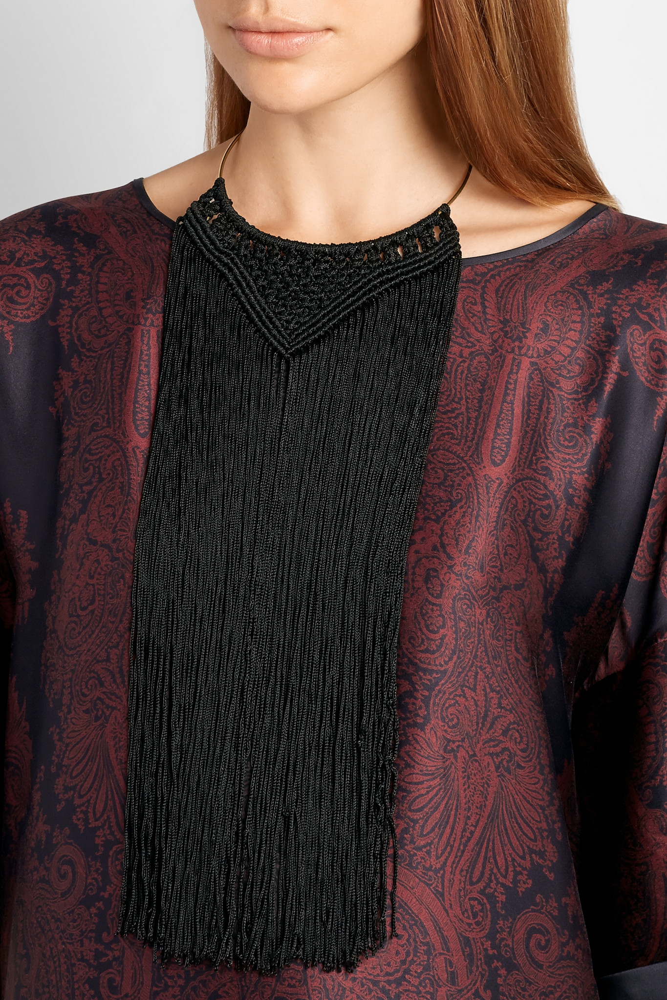 Day Birger et Mikkelsen Day Meymaneh Fringed Silk And Gold-plated Necklace in Black