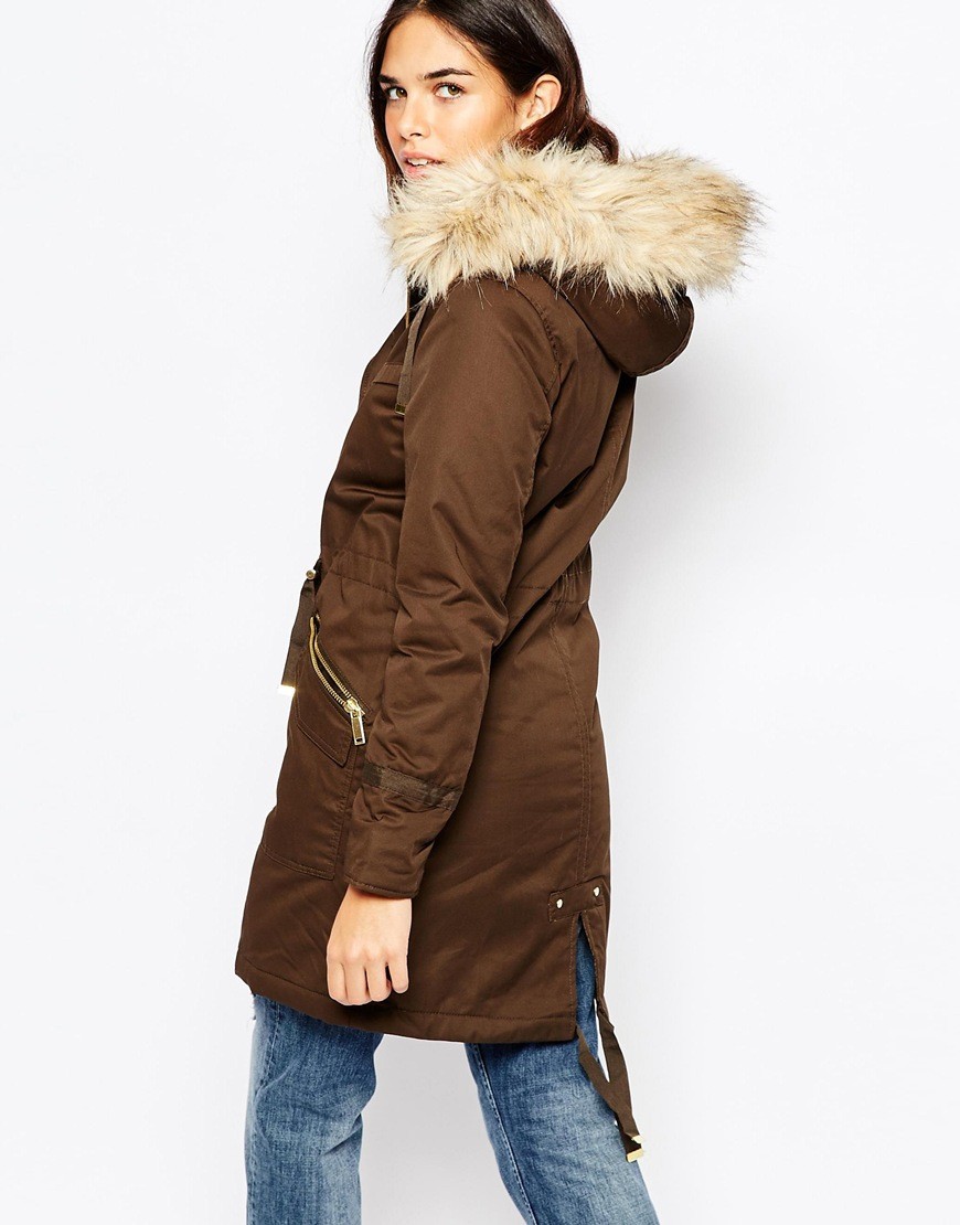 Warehouse Faux Fur Parka in Brown | Lyst