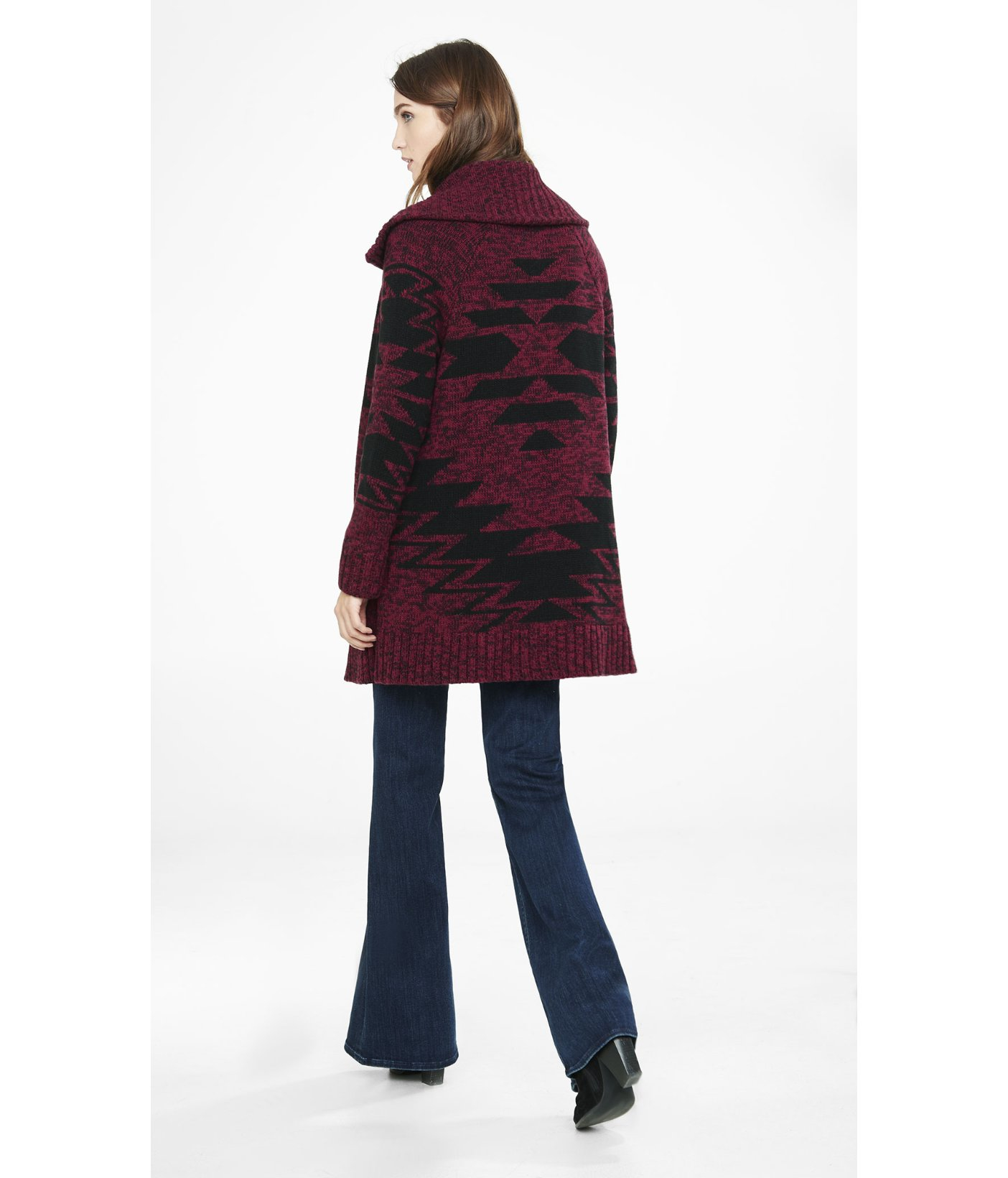 Express Red Southwestern Print Sweater Coat in Red | Lyst