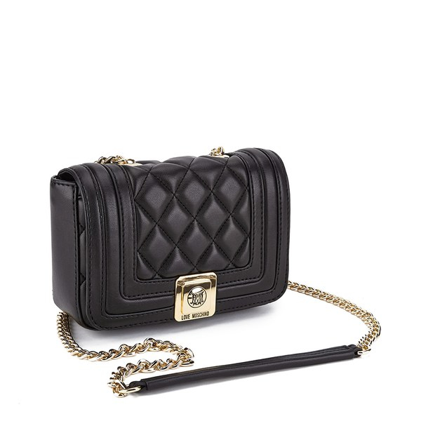 Love Moschino Women's Quilted Small Cross Body Bag in Gold (Black)