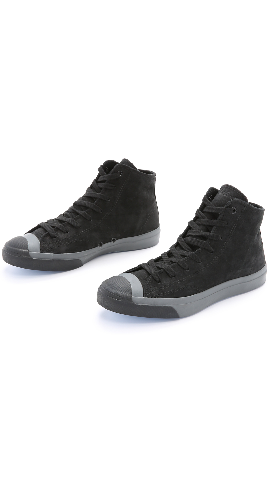 a75092591c51 Converse.com  Lyst - Converse Jack Purcell Nubuck Mid Top Sneakers in Black  for Men . ...