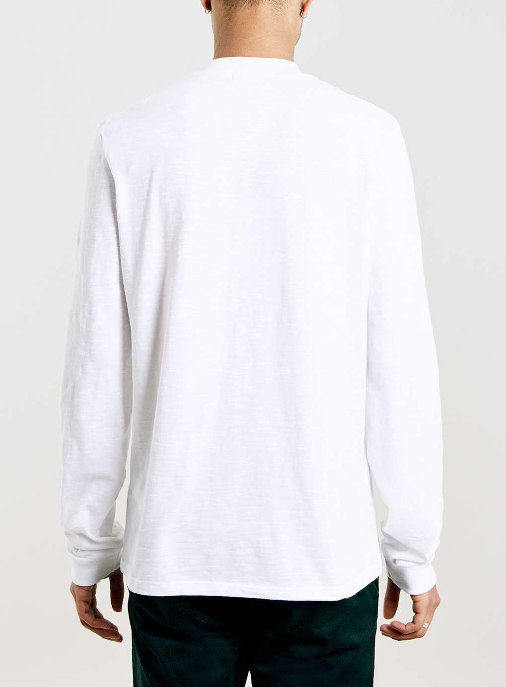 Topman white slubby turtle neck long sleeve t shirt in Mens long sleeve white t shirt