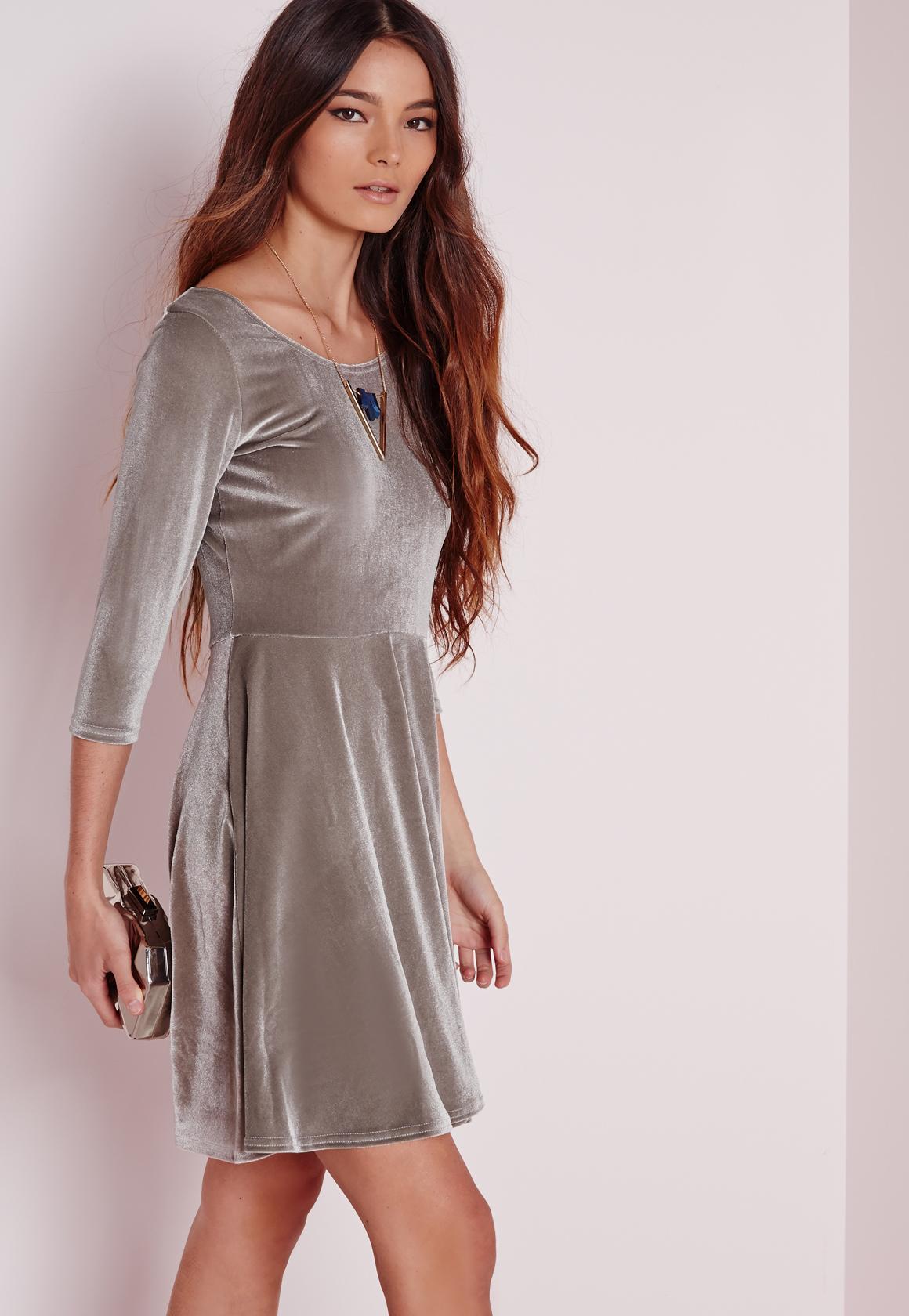 Missguided 3/4 Sleeve Velvet Skater Dress Grey in Gray