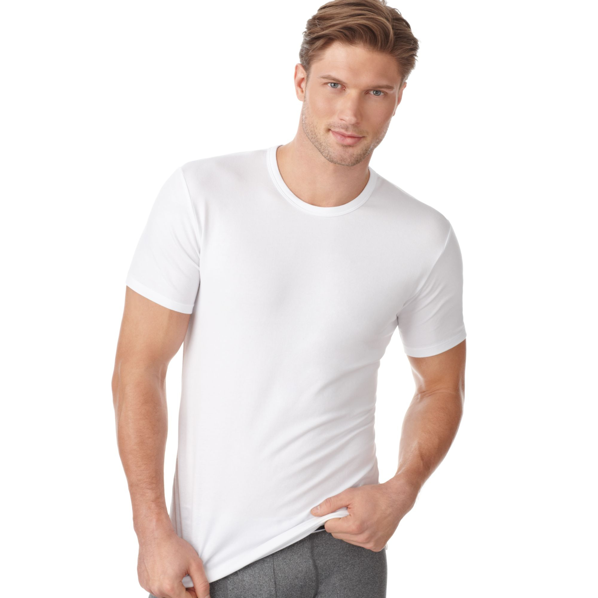 lyst calvin klein stretch t shirt 2 pack in white for men. Black Bedroom Furniture Sets. Home Design Ideas