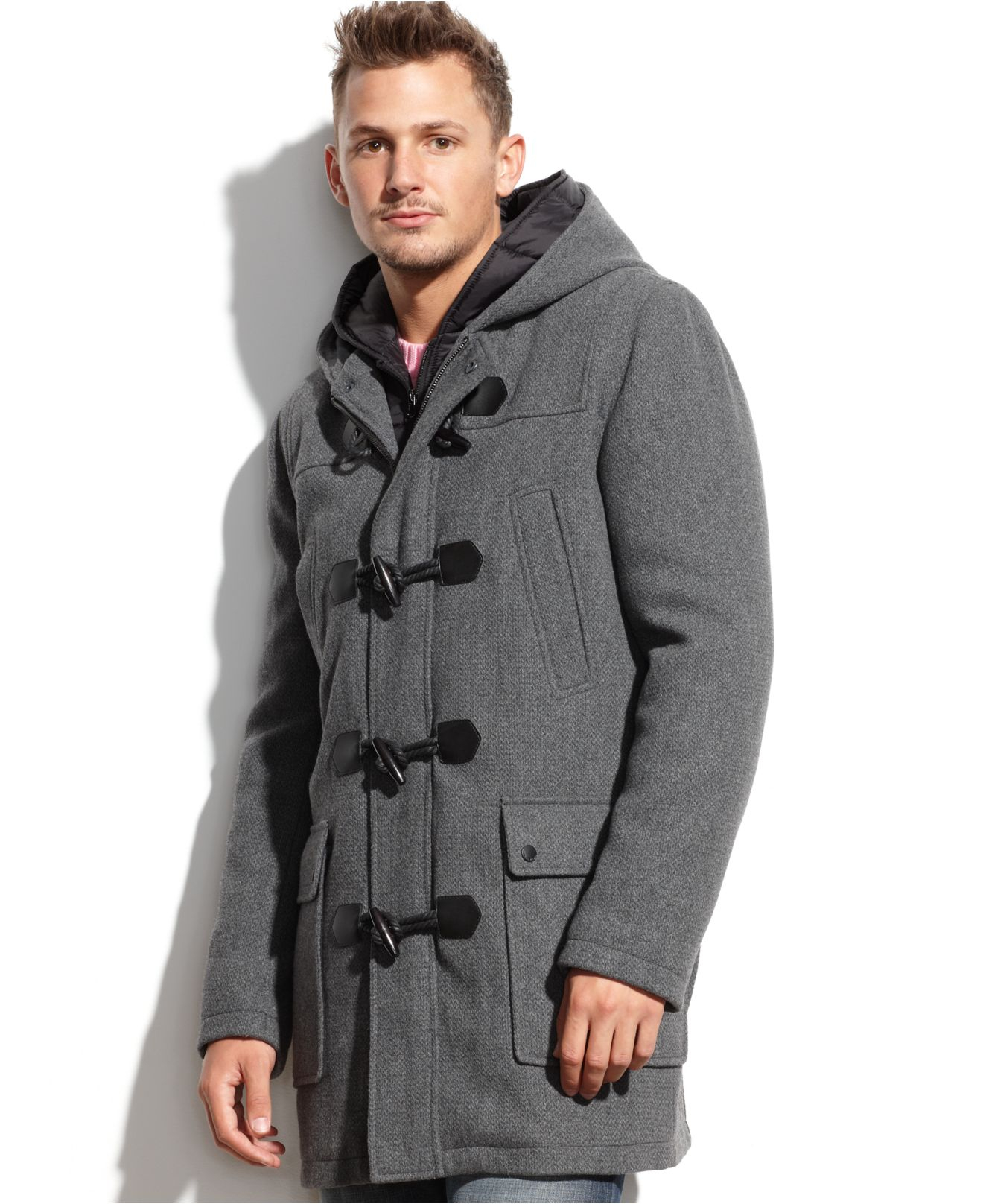 Guess Wool-Blend Hooded Nylon-Bib Toggle Coat in Gray for Men | Lyst