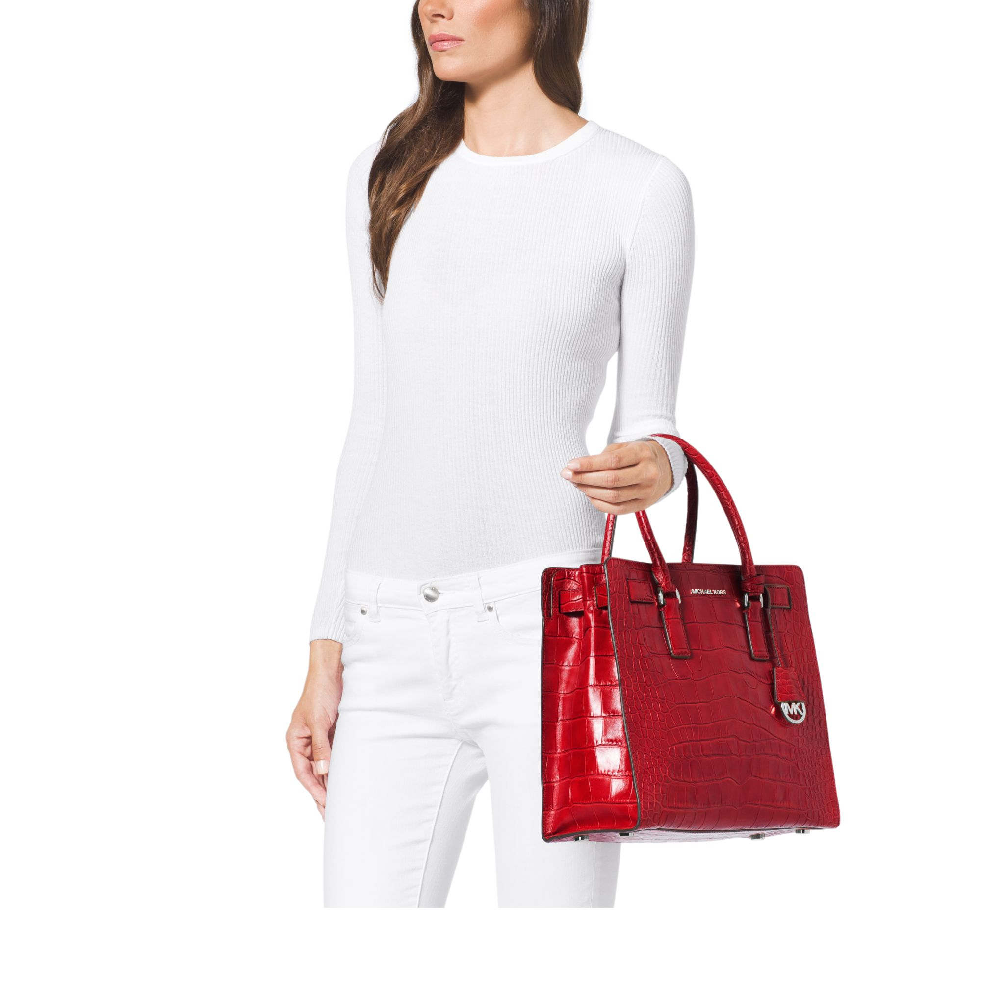 d45ebf0285bb Michael Kors Dillon Large Embossed-Leather Tote in Red - Lyst