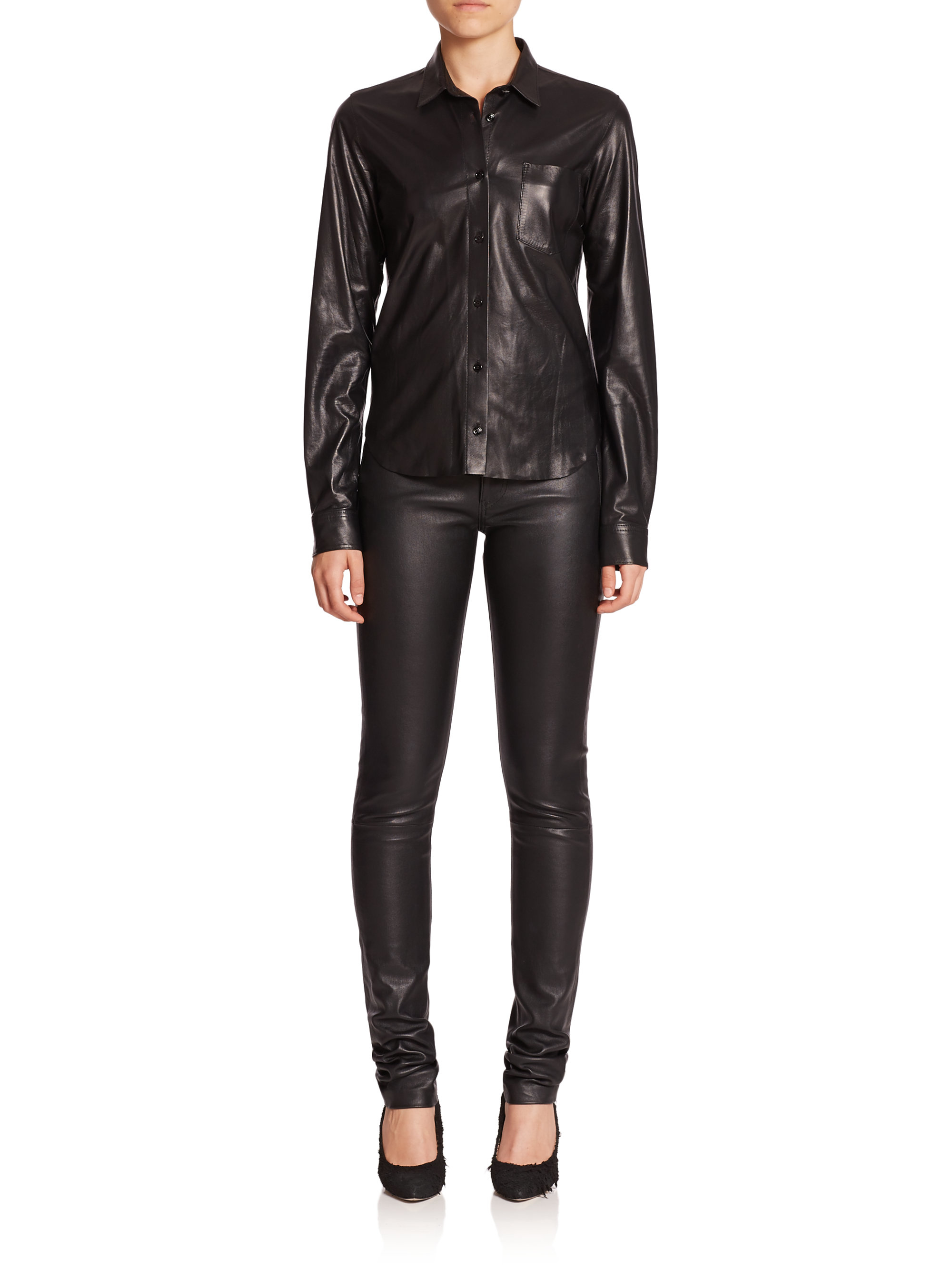 Helmut Lang Leather Button Front Shirt In Black Lyst