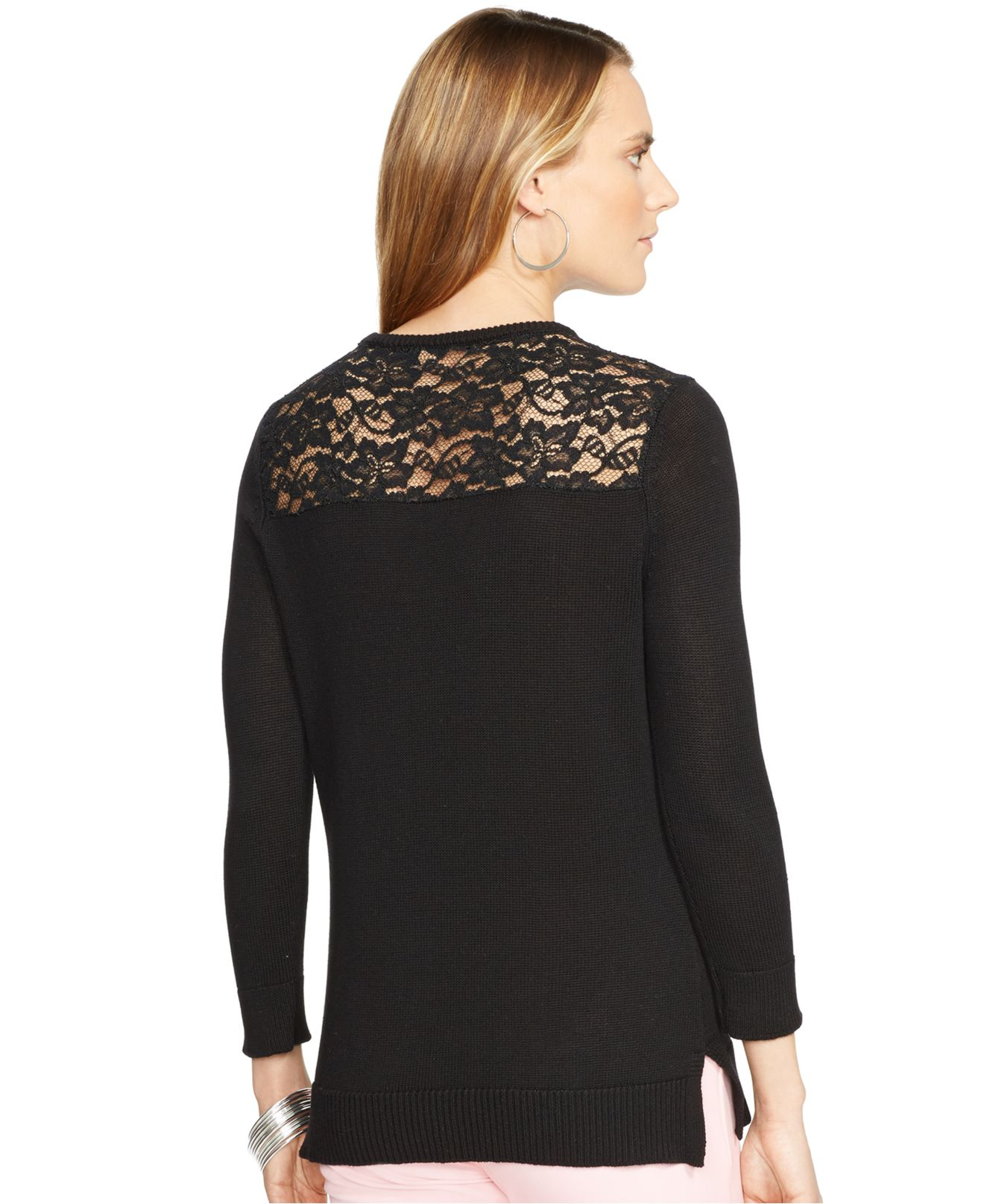 Lauren by ralph lauren Lace-Back Sweater in Black | Lyst