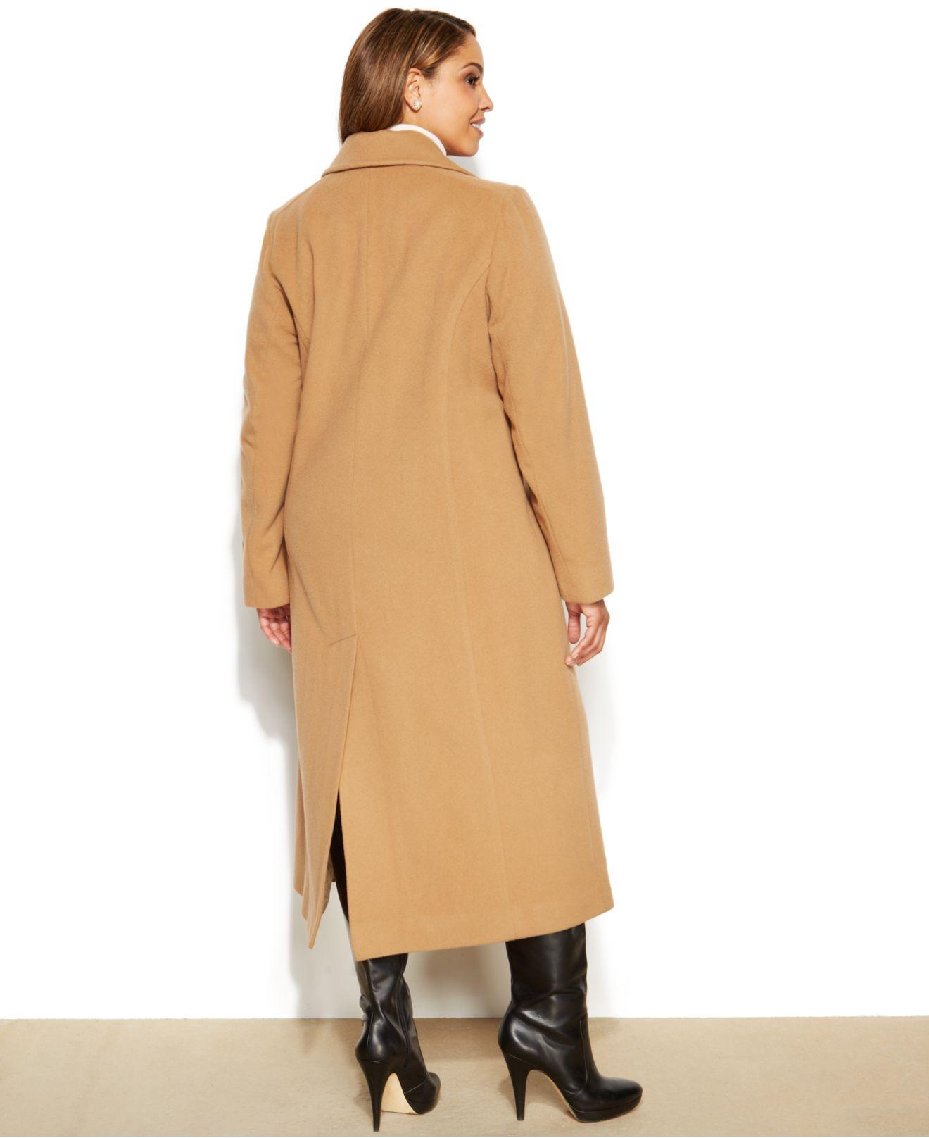 Anne klein Plus Size Wool-Cashmere-Blend Maxi Walker Coat in ...
