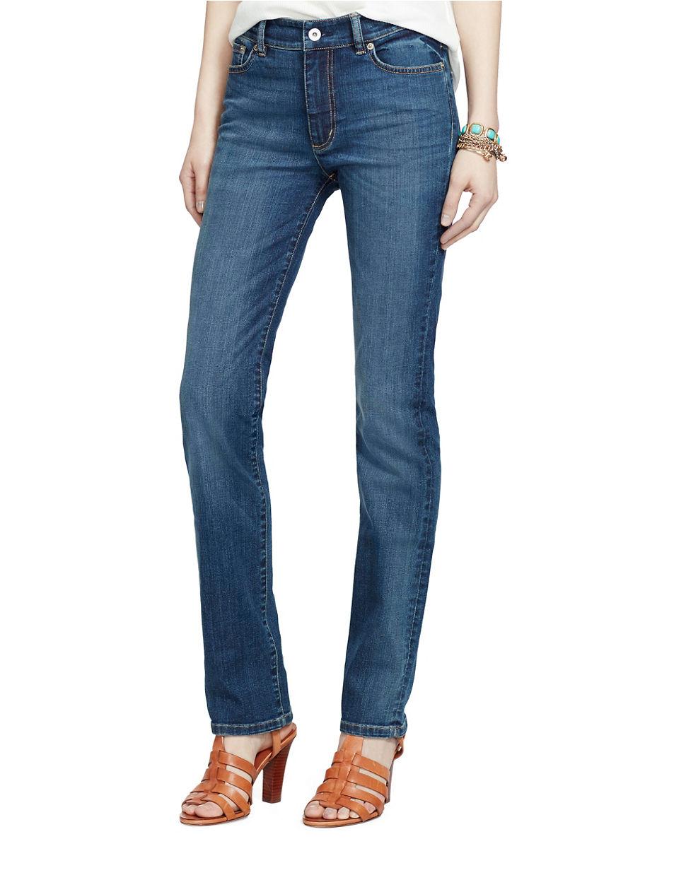 lyst lauren by ralph lauren premier straight leg jeans. Black Bedroom Furniture Sets. Home Design Ideas