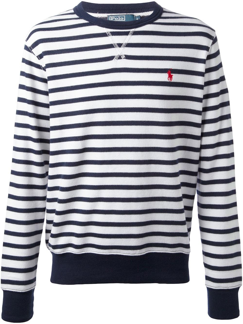 Lyst Ralph Lauren Stripe Sweater In Blue For Men