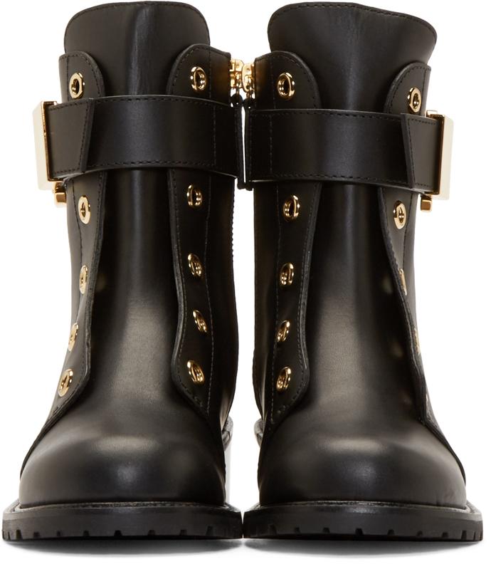 Giuseppe Zanotti Black Buckle Combat Boots