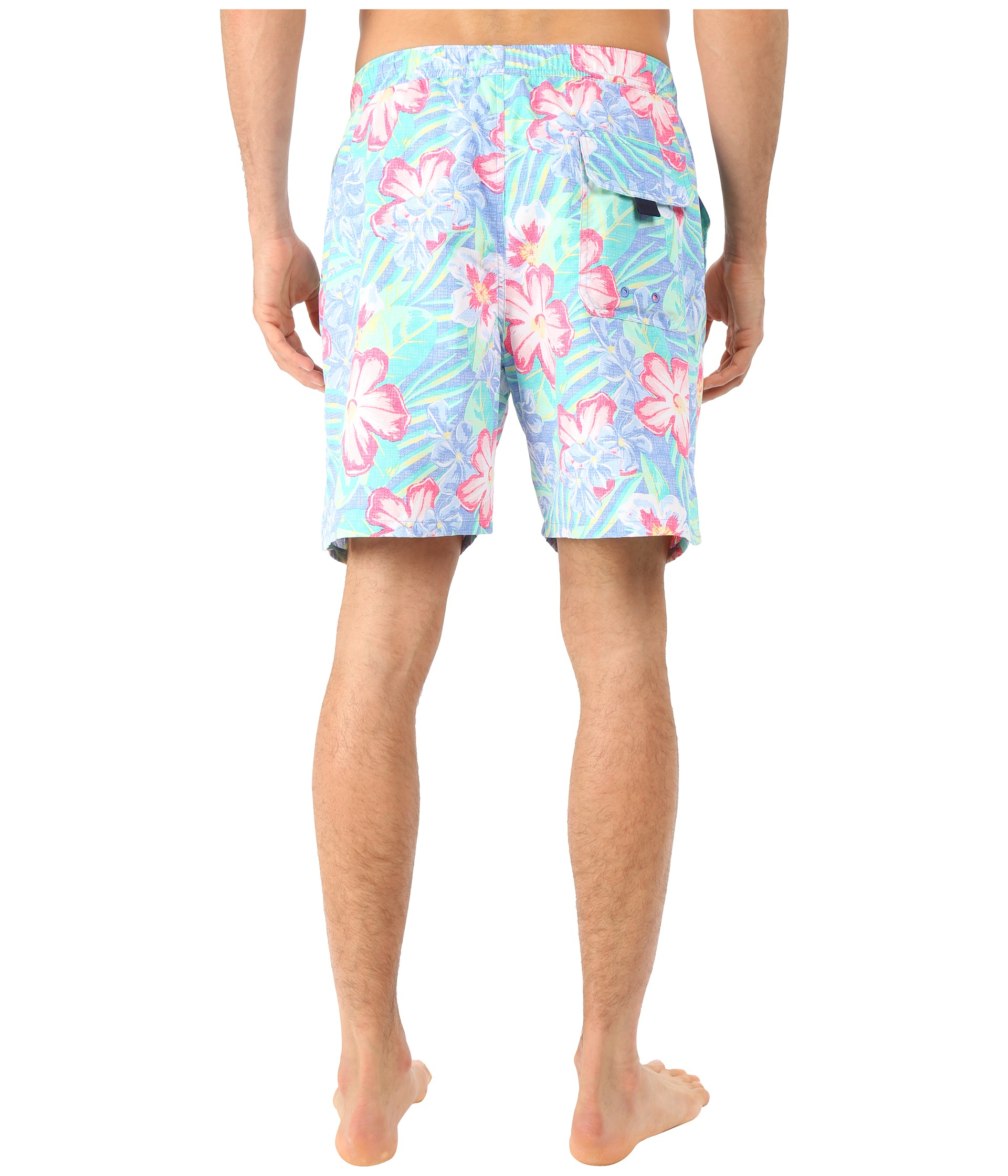 Vineyard Vines Island Floral Chappy Trunk In Blue For Men