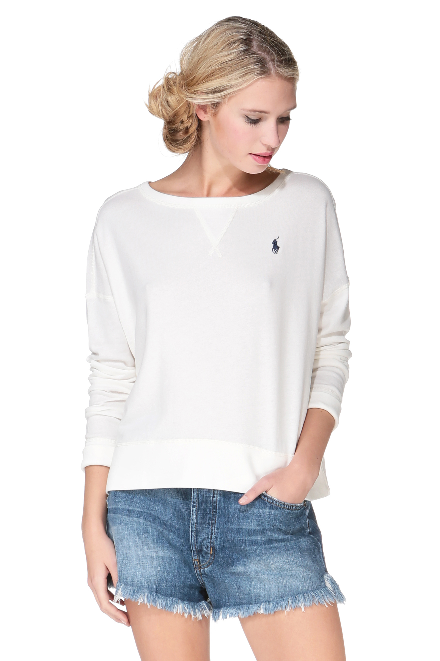 polo ralph lauren sweatshirt in white lyst. Black Bedroom Furniture Sets. Home Design Ideas