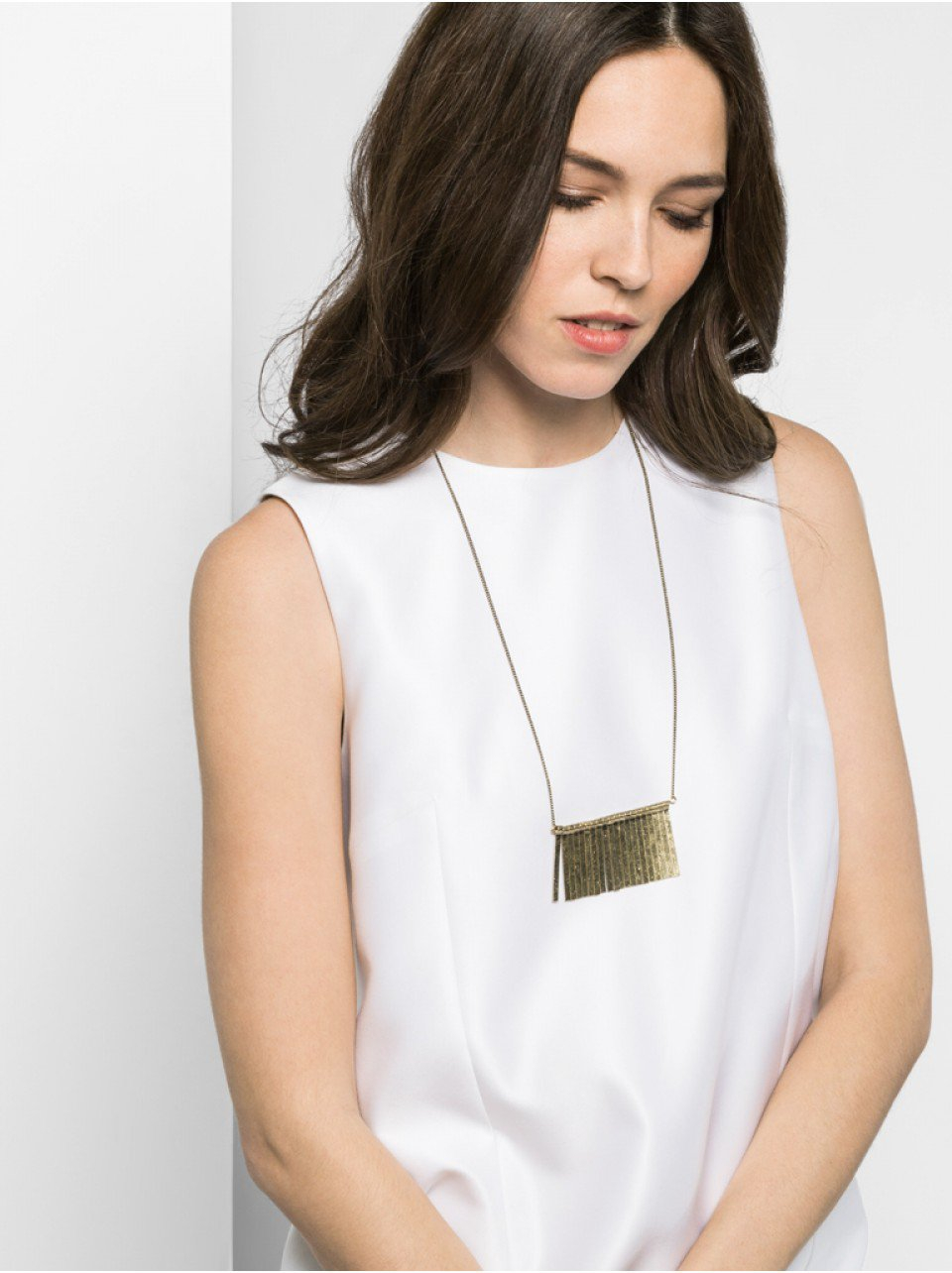 BaubleBar Long Straight Edge Fringe Necklace in Metallic