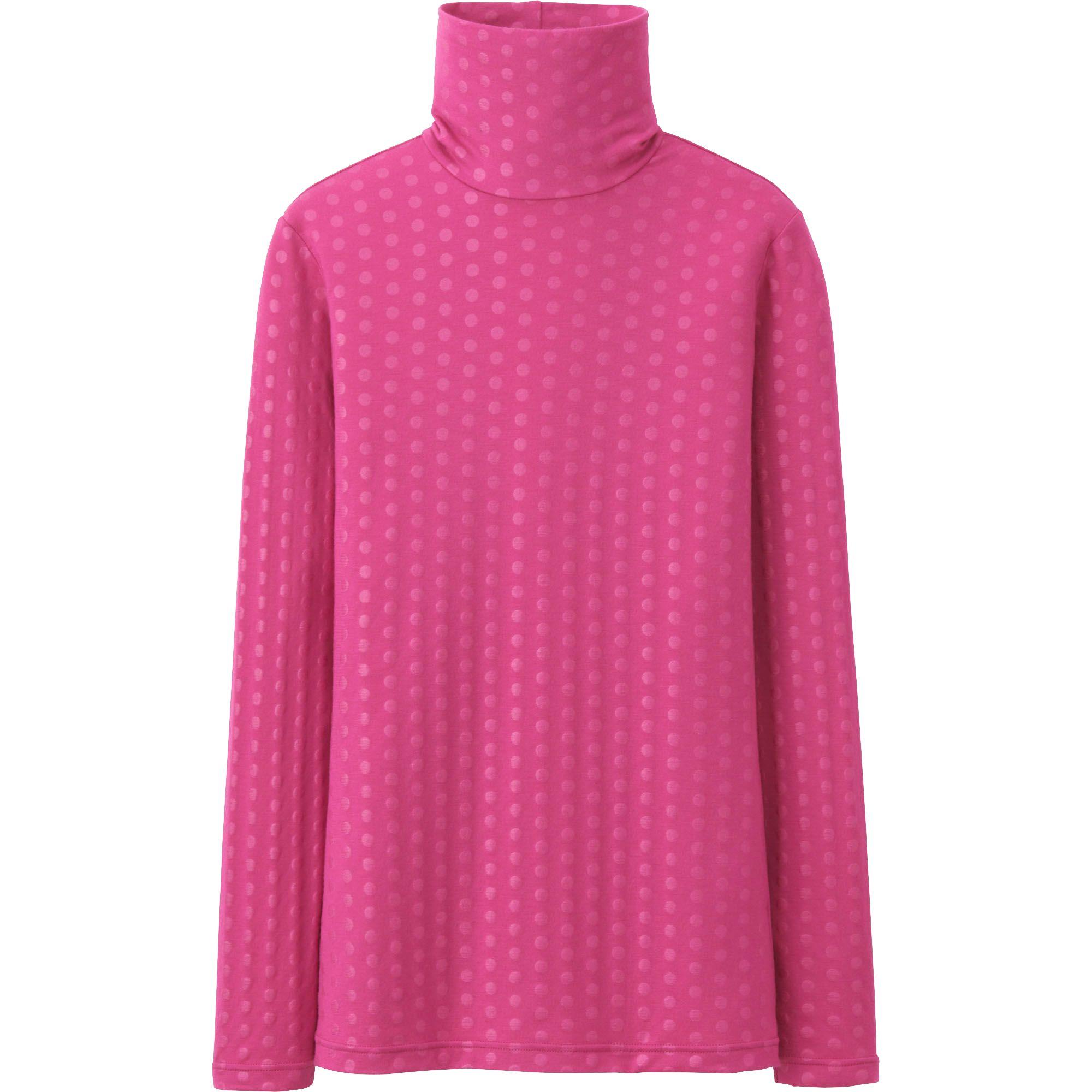 Uniqlo Pink Women Heattech Turtle Neck T Shirt Long