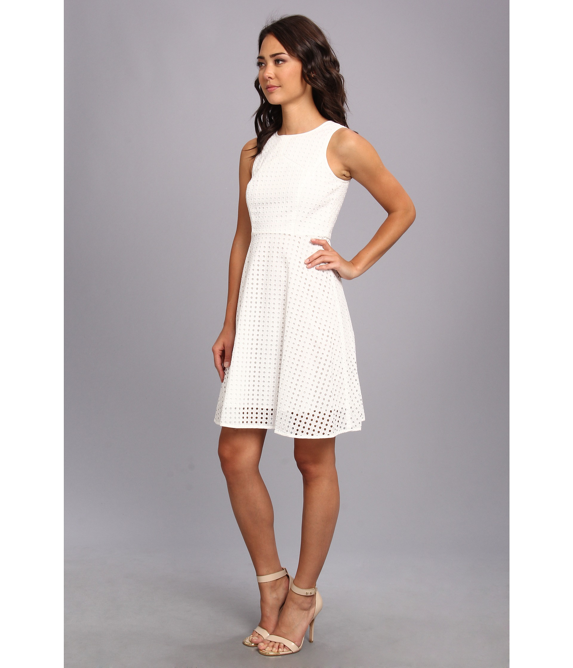Vince Camuto Square Eyelet Dress In White Lyst