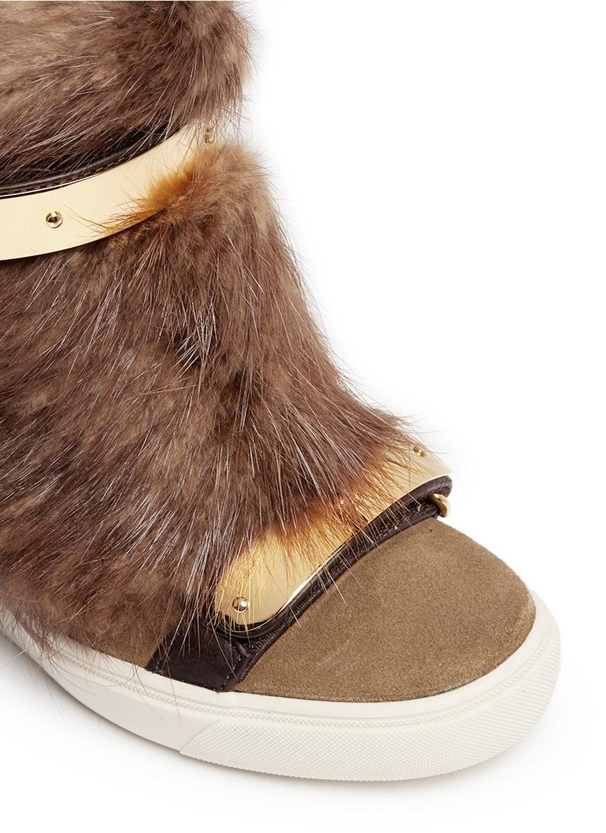 Giuseppe Zanotti 'lorenz' Fur Suede Wedge Sneakers in Brown