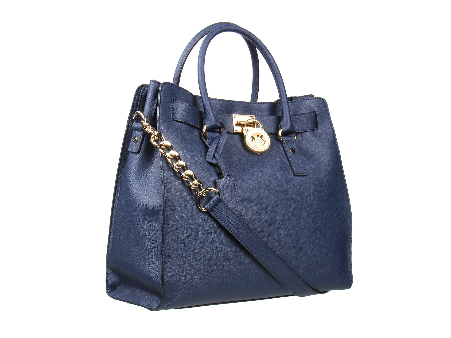 Lyst - MICHAEL Michael Kors Hamilton Large North south Tote in Blue 3ef6a22f739ea