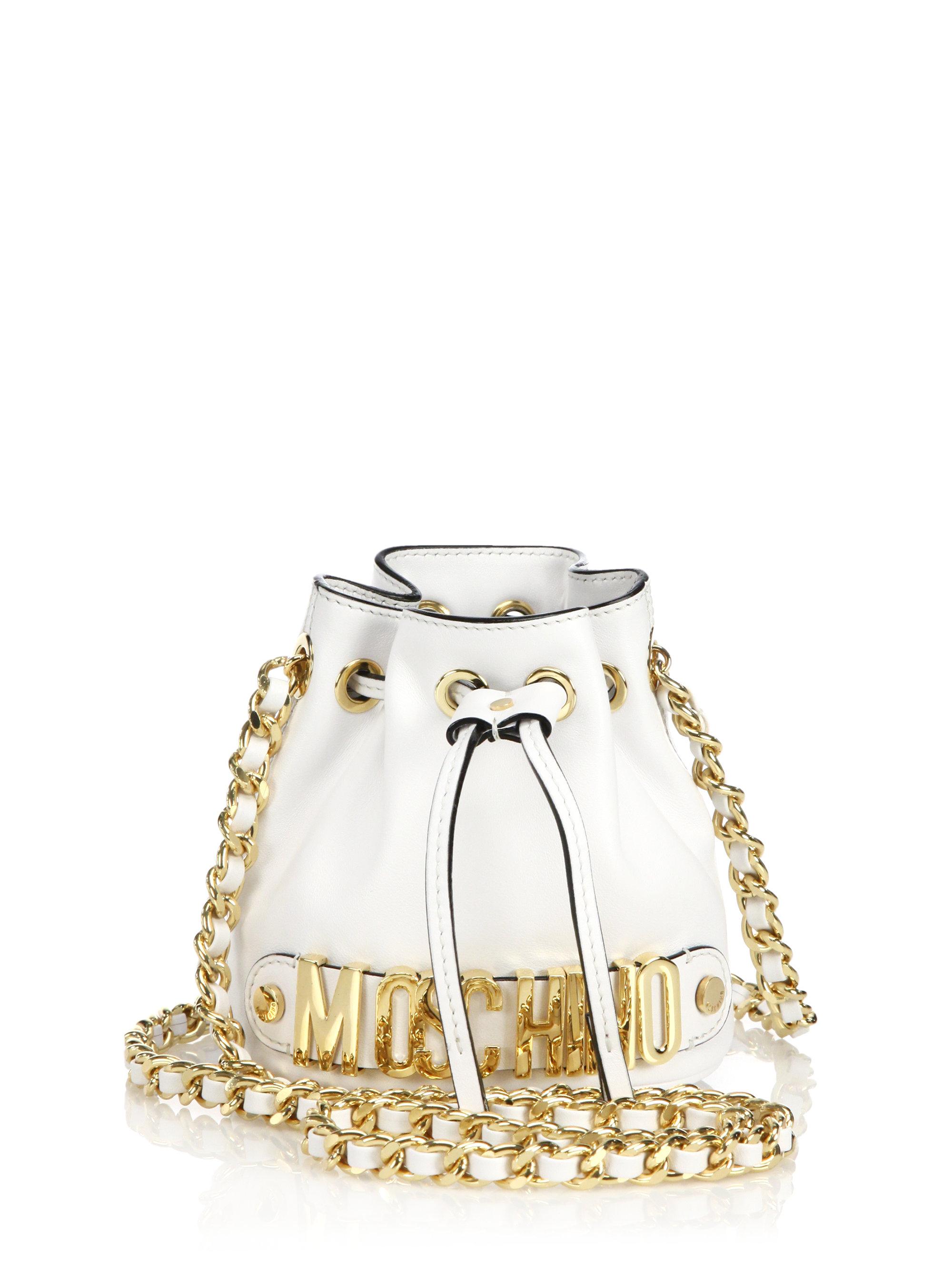 Lyst - Moschino Logo Mini Bucket Bag in White
