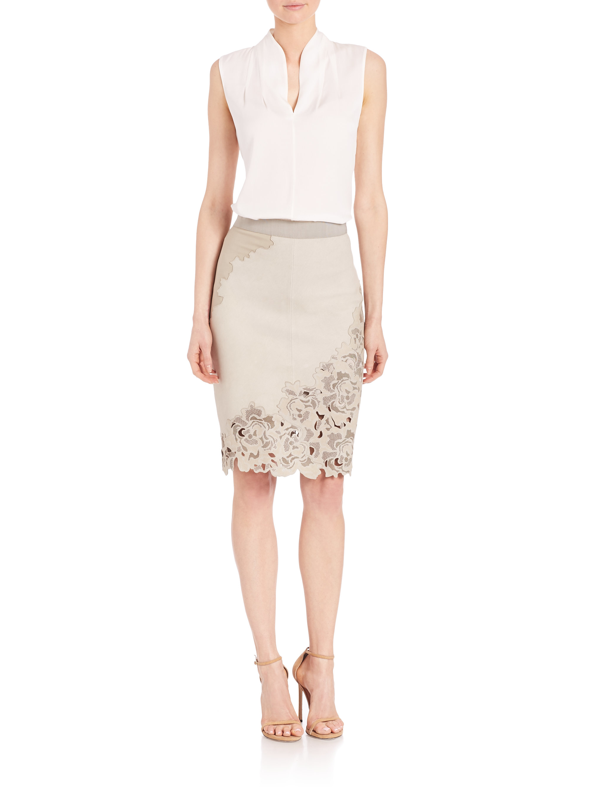 elie tahari bryana lasercut leather skirt in lyst