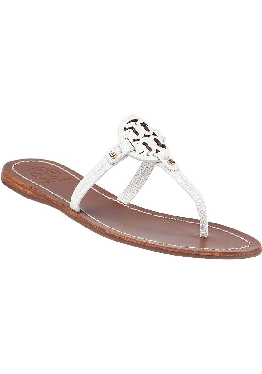 d9baef5b82b ... cheapest tory burch mini miller flat sandals in white lyst a377f 4f737