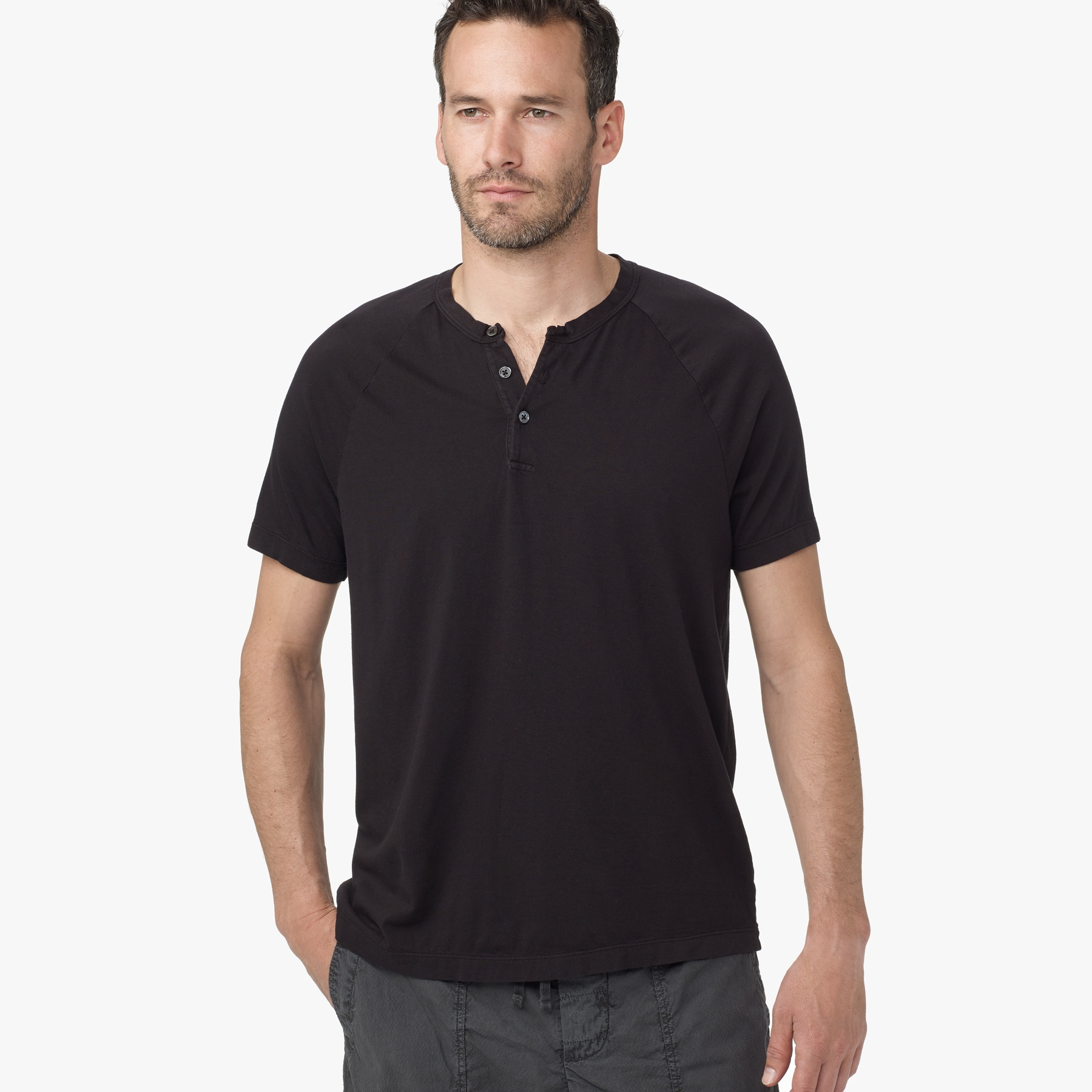 Lyst james perse brushed cotton henley in black for men for James perse henley shirt