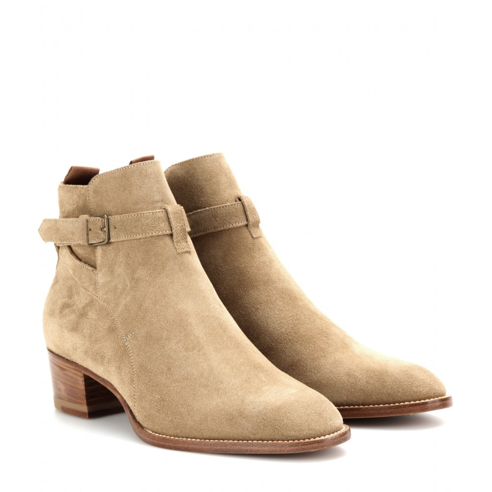 laurent jodhpur suede ankle boots in brown lyst