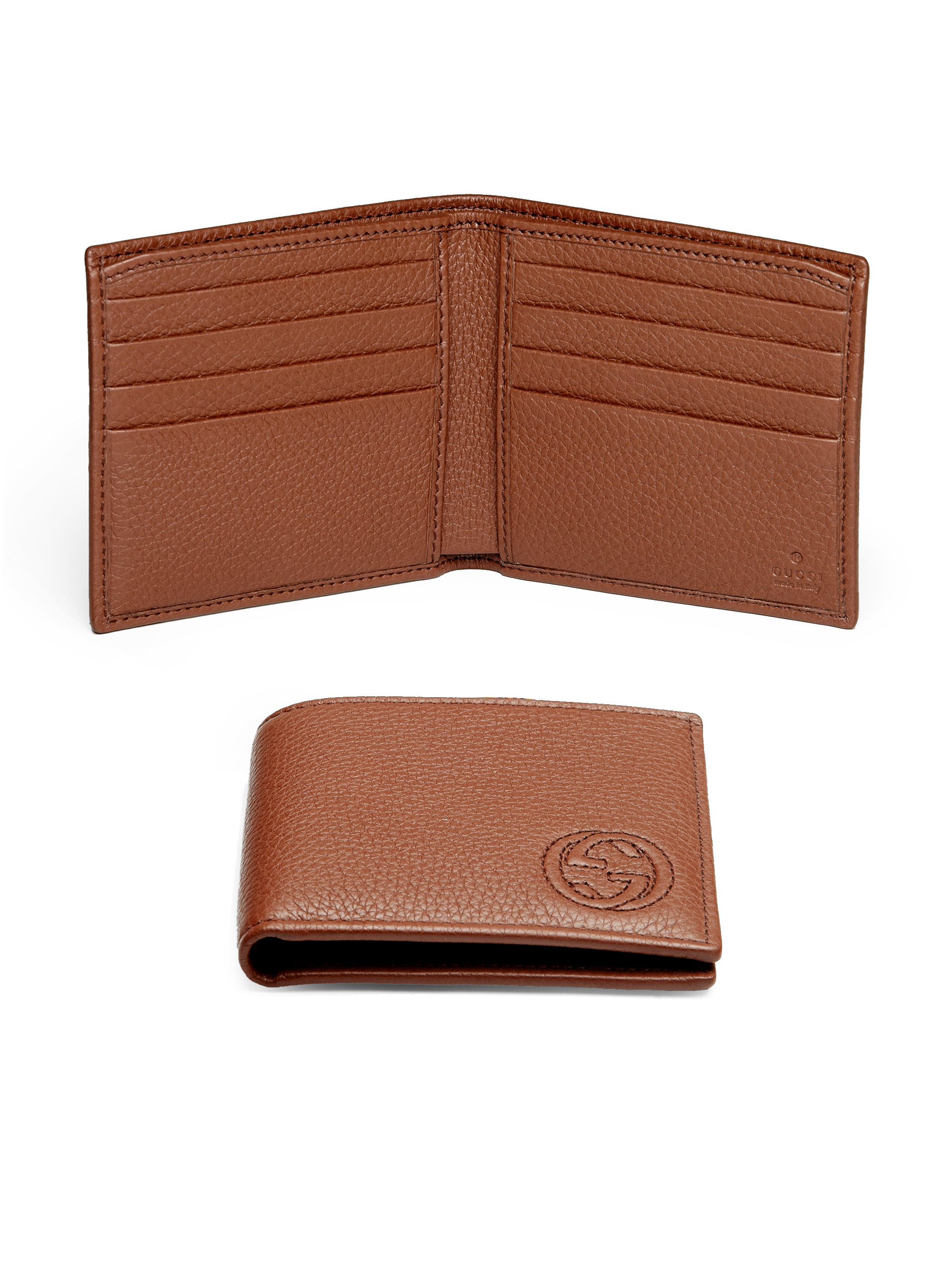 Gucci Soho Leather Bifold Wallet in Brown for Men | Lyst