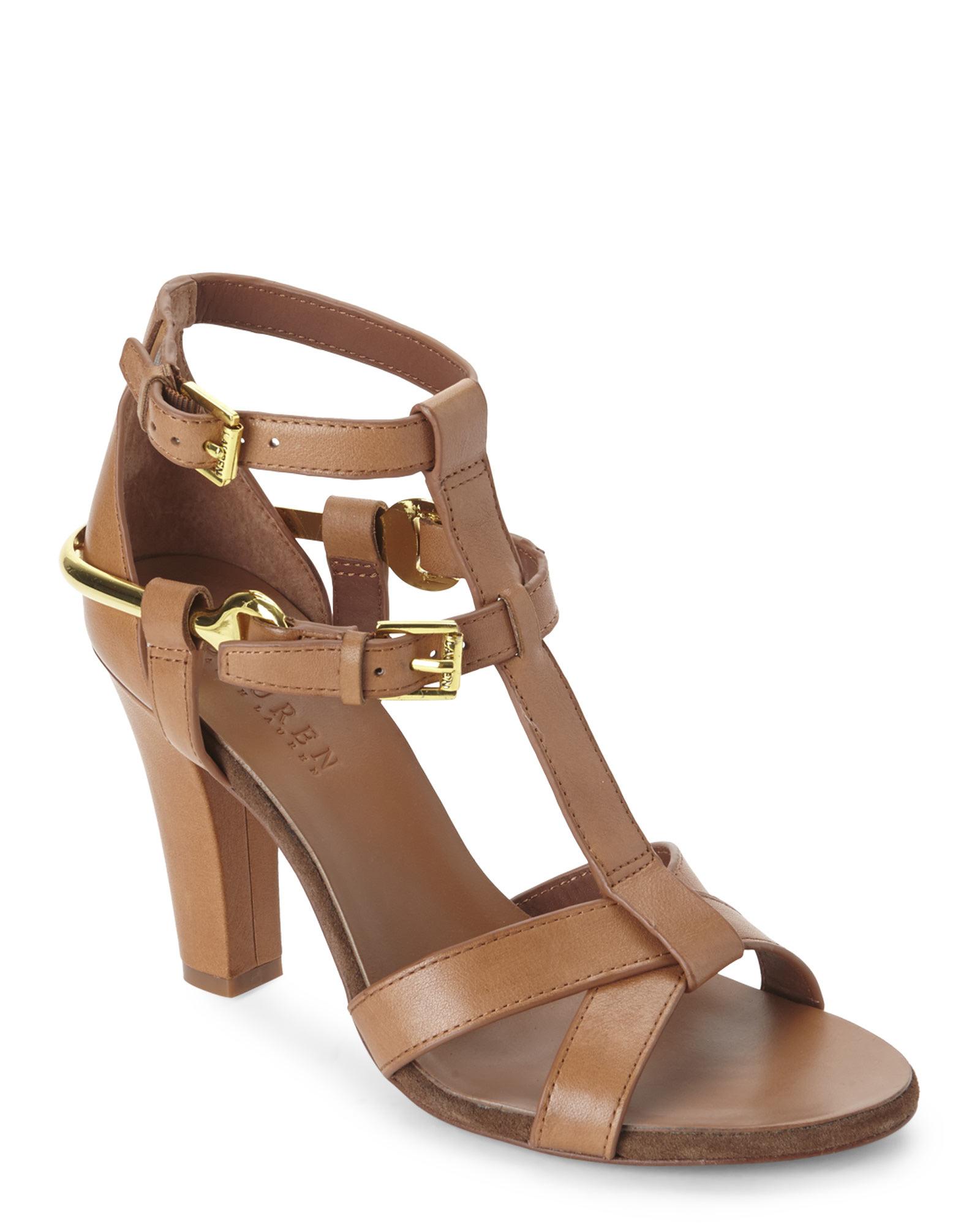 3f98178fef5 Ralph Lauren Brown Tan Leena Vachetta Leather Sandals