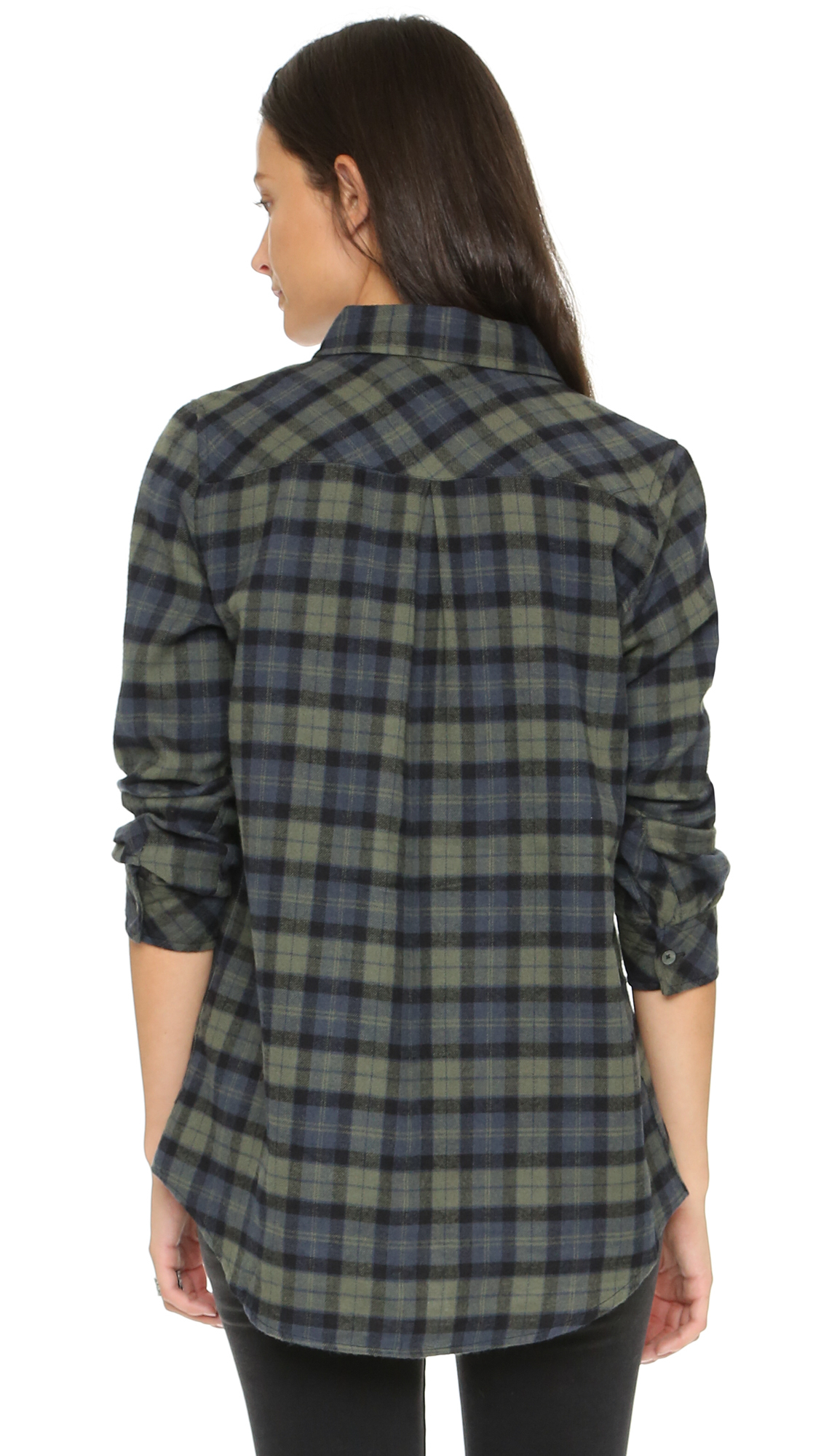 Knot Sisters Cheyenne Flannel Shirt Dark Olive Plaid In