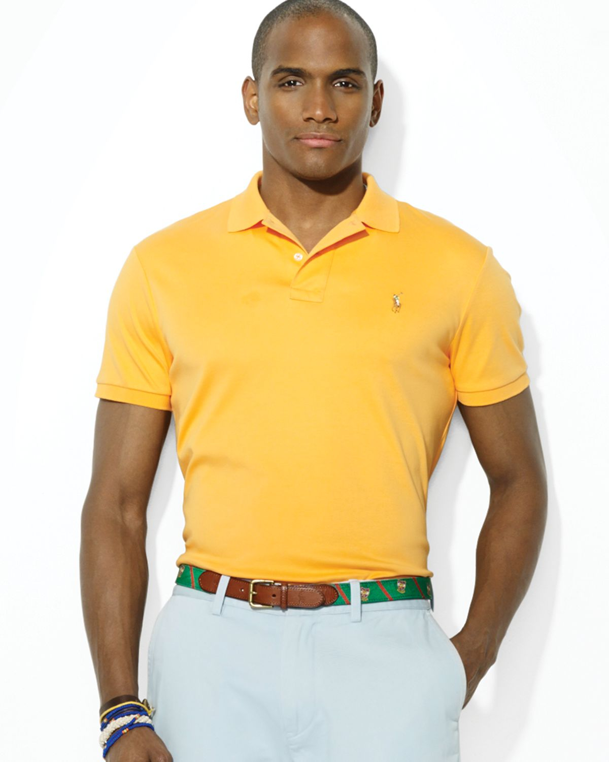 Lyst Ralph Lauren Polo Pima Softtouch Polo Shirt In Yellow For Men