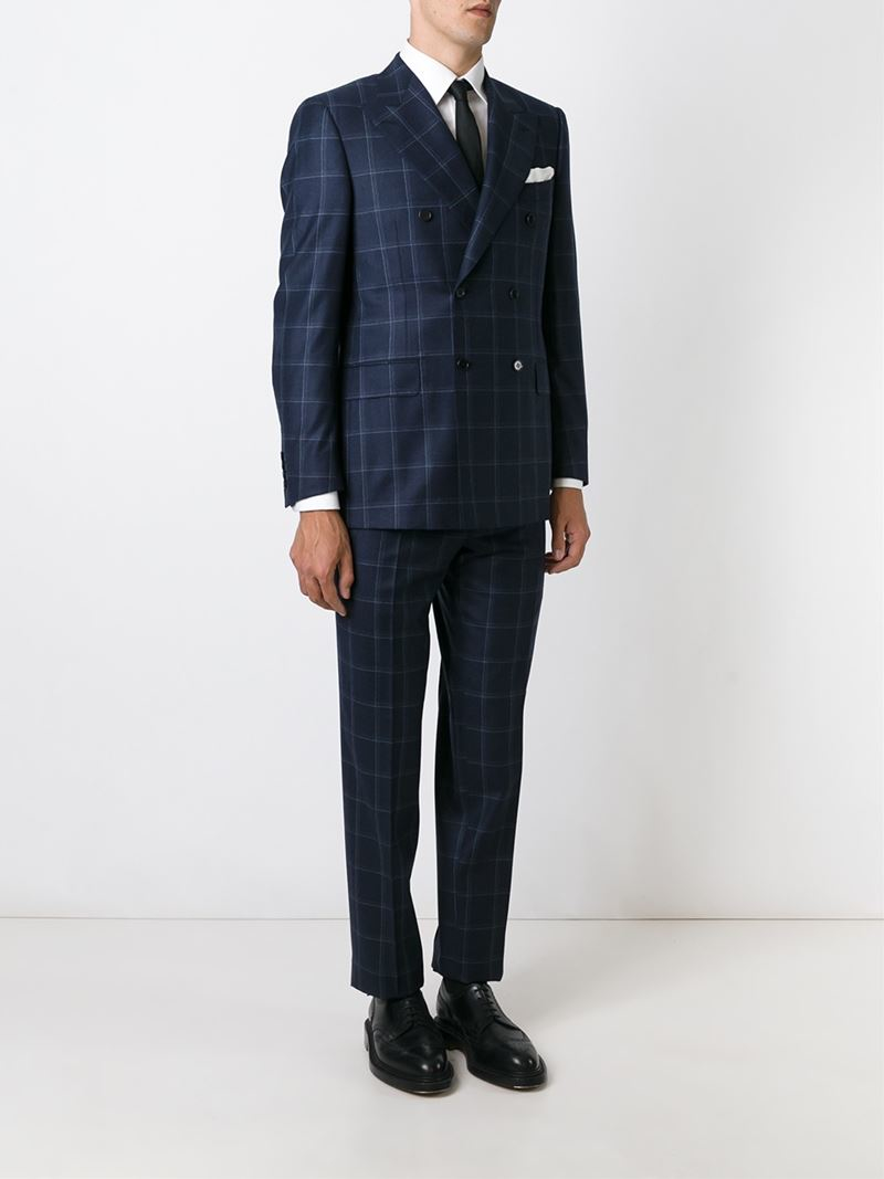 Canali Double Breasted Suit in Blue for Men | Lyst