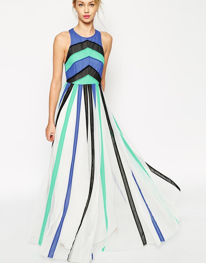 Aqua color block maxi dress
