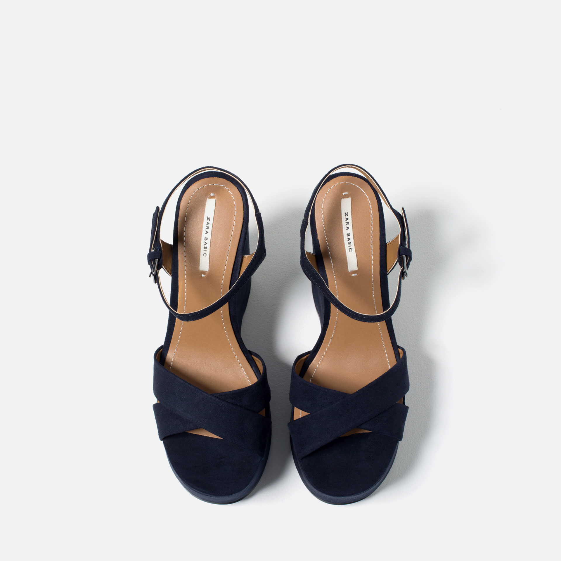 zara wedges with ankle in blue lyst