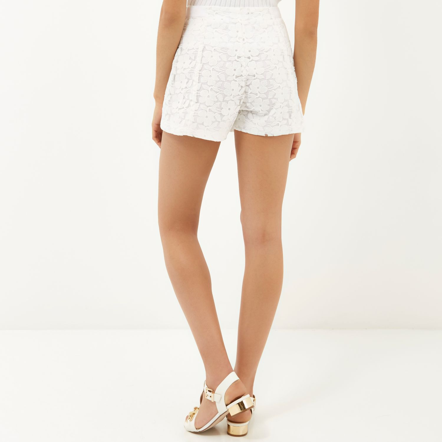 River island White Lace High Waisted Shorts in White | Lyst