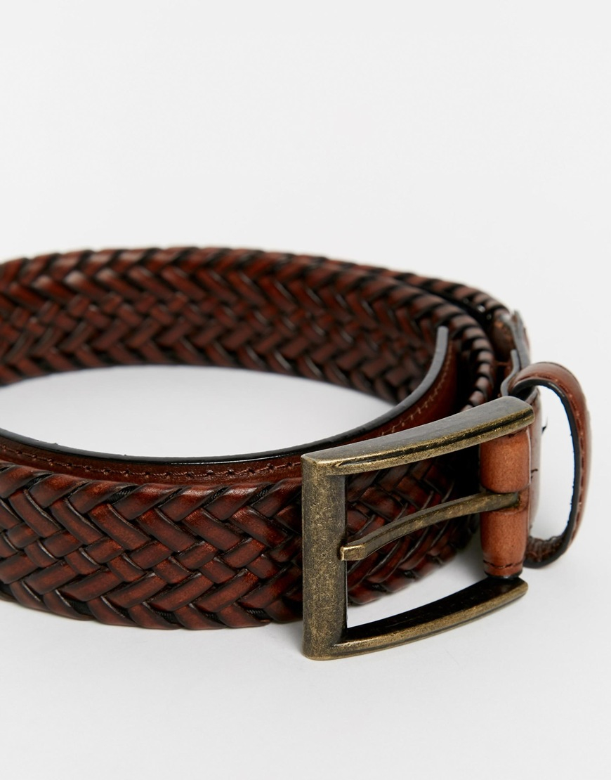 racing green plaited leather belt in brown for lyst